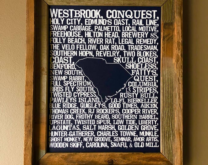 Beers of South Carolina Word Map (Dark Blue) - Unframed
