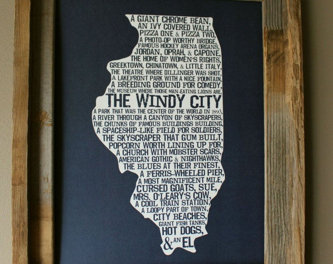 Chicago In A Nutshell Word Art Map Print (Dark Blue) - Unframed