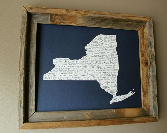 New York (State) In A Nutshell Word Art Map Print (Dark Blue) - Unframed