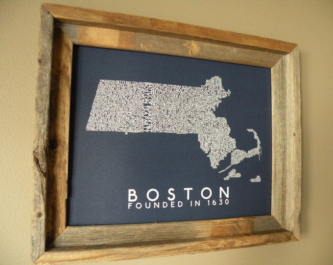 History of Boston Word Map (Dark Blue) - Unframed
