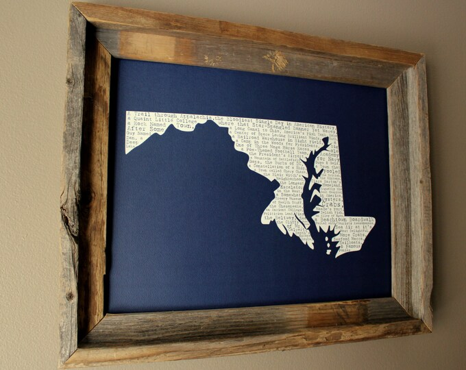 Maryland In A Nutshell Word Art Map Print (Dark Blue) - Unframed