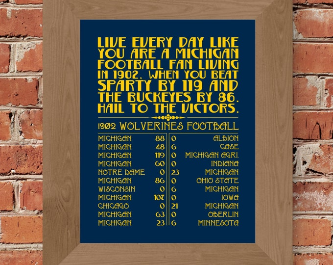 Michigan Football in 1902 - Word Art Print (Maize & Blue) - Unframed (5x7, 8x10, 11x14, 24x36, and more sizes available)