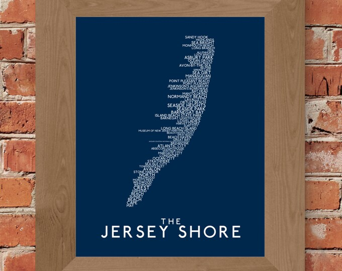 The Jersey Shore Word Map (Dark Blue) - Unframed (5x7, 8x10, 11x14, 24x36, and more sizes available)