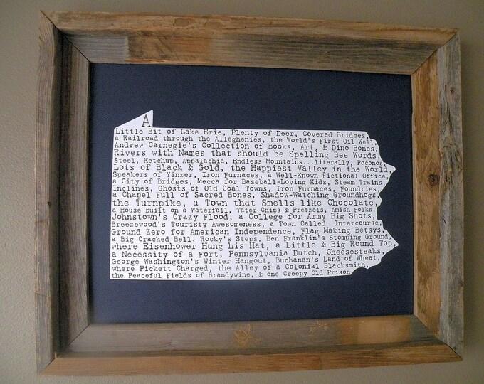Pennsylvania In A Nutshell Word Art Map Print (Dark Blue) - Unframed