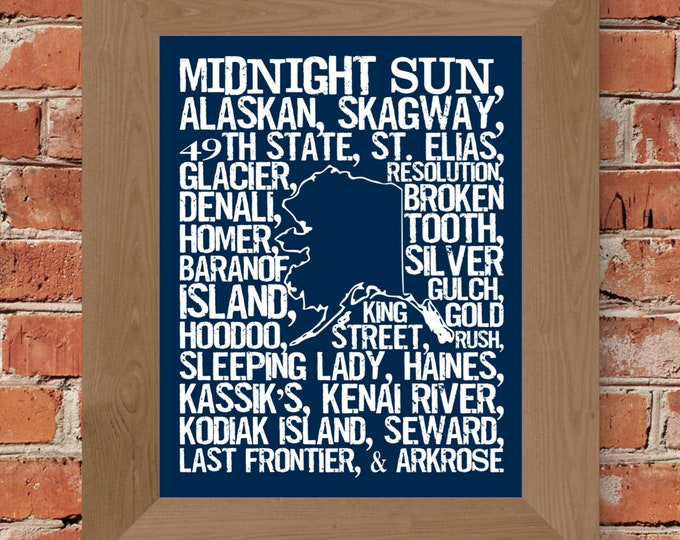Beers of Alaska Word Map (Dark Blue) Fine Art Print - Unframed (11 x 14, 22 x 28)