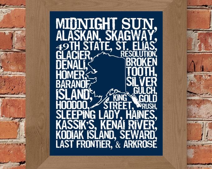 Beers of Alaska Word Map (Dark Blue) Fine Art Print - Unframed (11 x 14, 22 x 28)