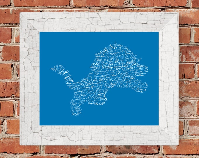 Signatures of Detroit Lions History (Honolulu Blue & Gray) Fine Art Print - Unframed (8x10, 11x14, 16x20, 24x36 and more sizes available)