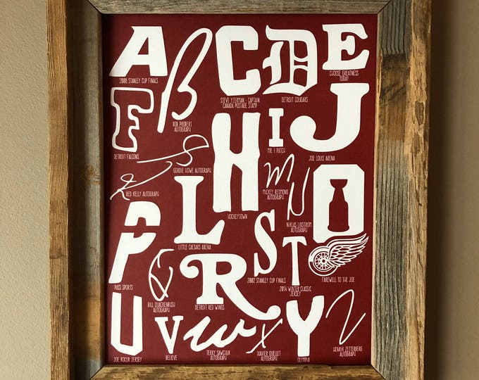 The Alphabet of Hockeytown (Detroit Red Wings) Word Art (Dark Red) - Unframed