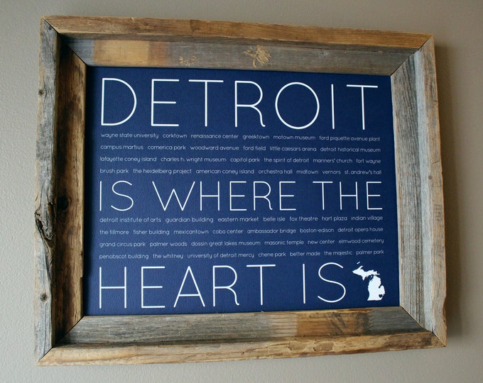 Detroit Is Where The Heart Is Word Art Print (Blue) - Unframed