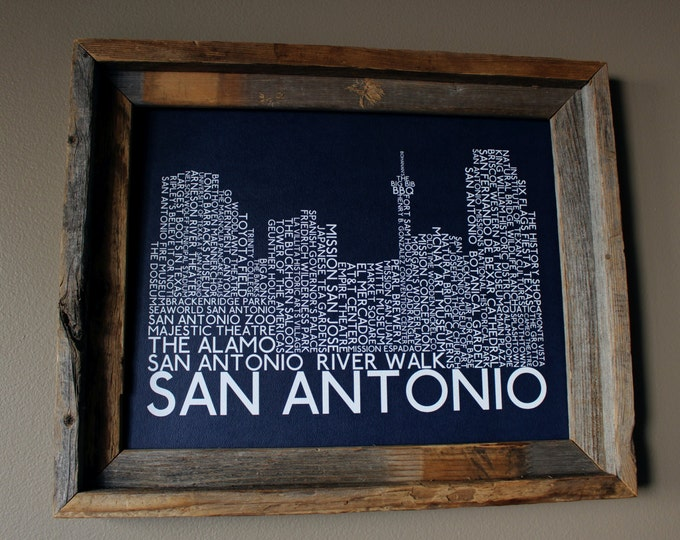 San Antonio Skyline Word Art Print (Dark Blue) - Unframed