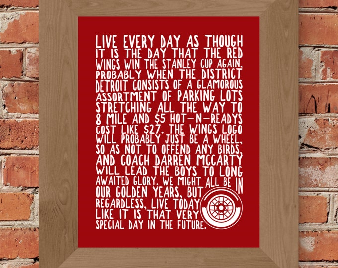 Detroit Red Wings Stanley Cup Whimsical Fine Art Print (Red) - Unframed