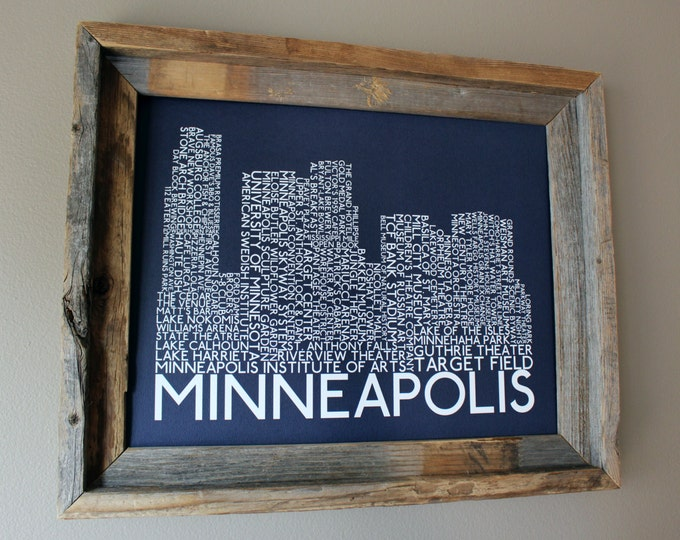 Minneapolis Skyline Word Art Print (Dark Blue) - Unframed