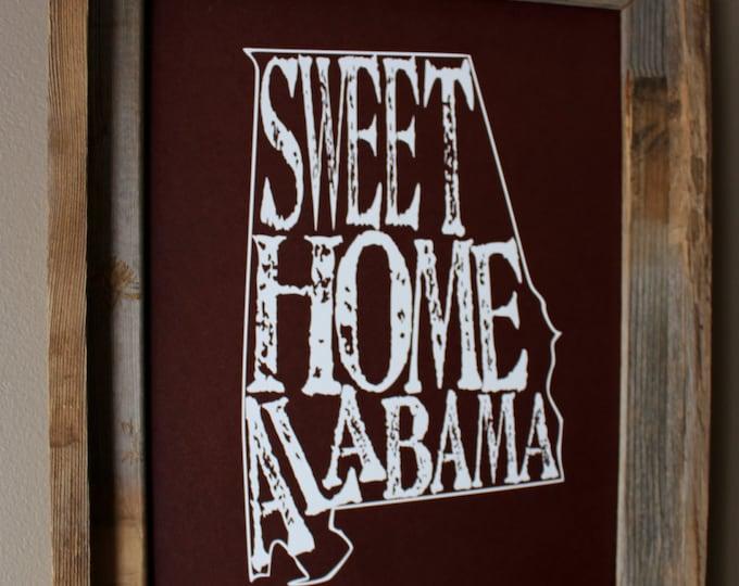 Sweet Home Alabama Map Print (Crimson) - Unframed