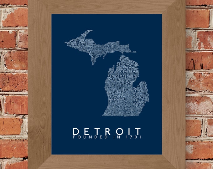 History of Detroit Map Fine Art Print (Dark Blue) - Unframed (8 x 10, 11 x 14, 16 x 20, 18 x 24, 24 x 36, and more)