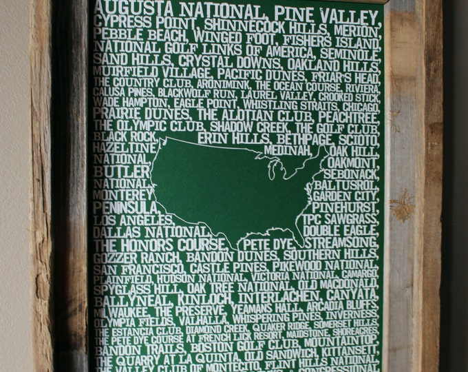 Golf in America Word Map (Green) - Unframed