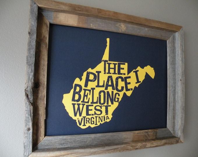 The Place I Belong West Virginia Map Print (Dark Blue & Gold/Yellow) - Unframed
