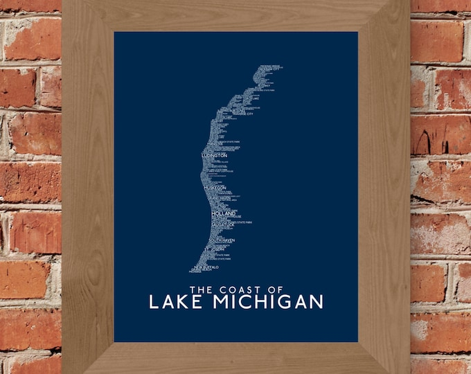 Michigan's Lake Michigan Coastline Word Map Fine Art Print  (Dark Blue) - (11 x 14, 16 x 20, 18 x 24, 24 x 36, and more)