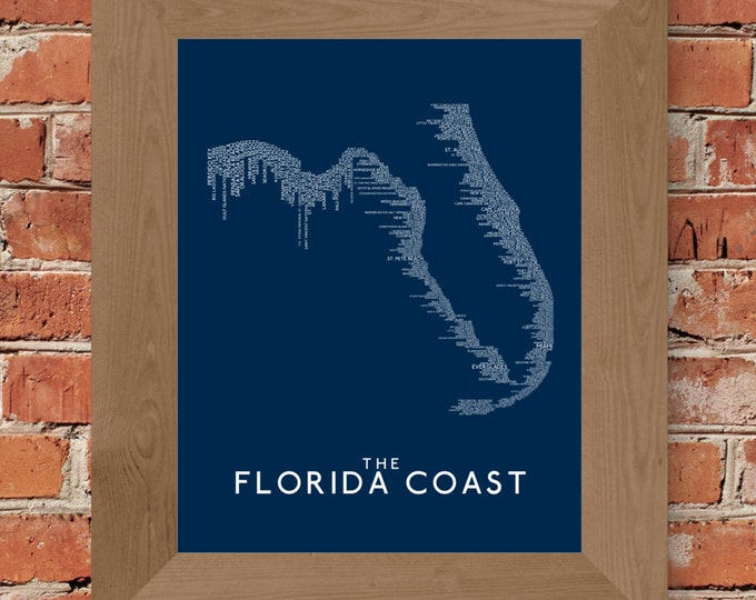 The Florida Coast Word Map (Dark Blue) Fine Art Print - Unframed (11 x 14, 16 x 20, 18 x 24, 24 x 36, and more)