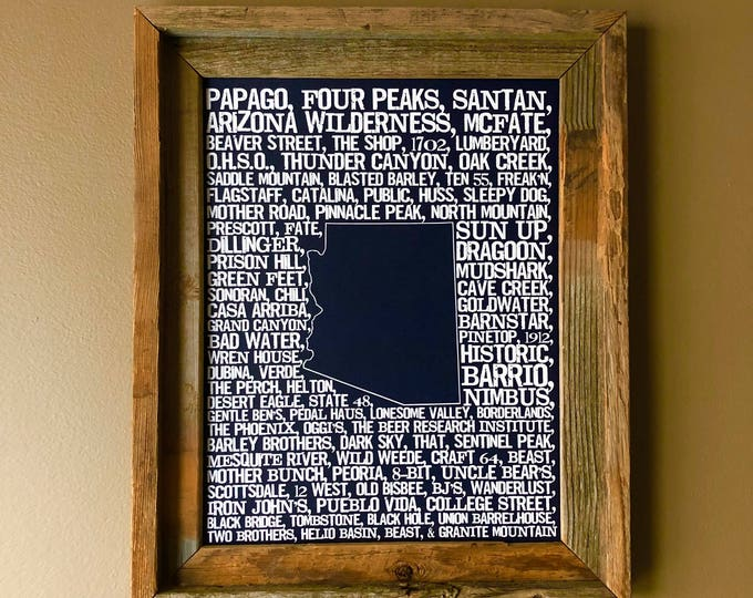 Beers of Arizona Word Map (Dark Blue) - Unframed