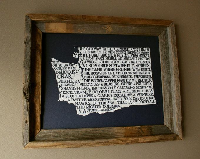 Washington In A Nutshell Word Art Map Print (Dark Blue) - Unframed