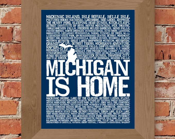Michigan Is Home Print (Blue) - Unframed