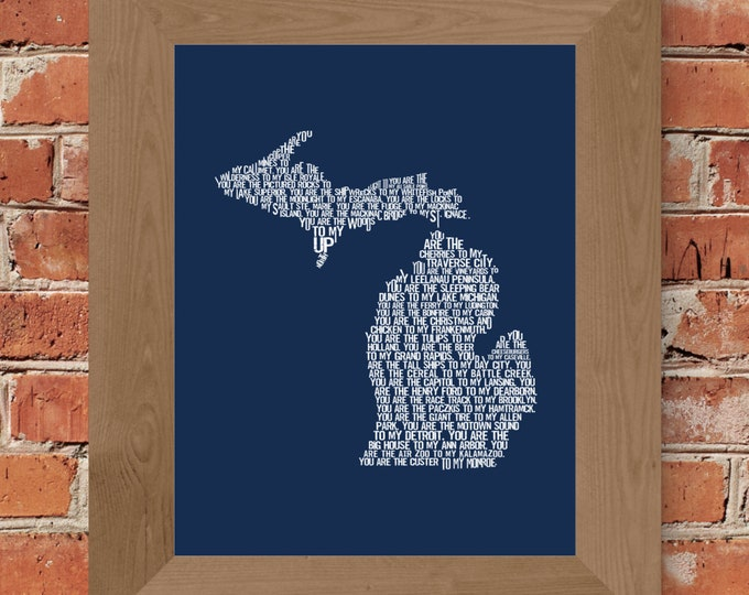 You are my Michigan Map Print - (Blue) Unframed