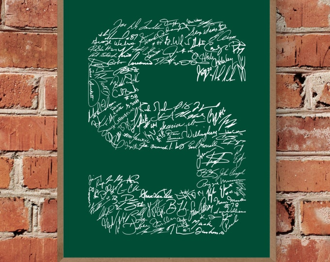 Signatures of Michigan State University Football History (Green & White) Fine Art Print - Unframed (Multiple Sizes)