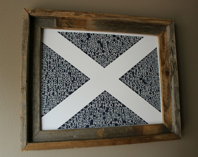Scottish Pubs Flag Print (Dark Blue & White) - Unframed
