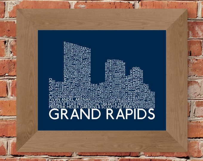 Grand Rapids Skyline Word Art Print (Blue) - Unframed (8 x 10, 11 x 14, 16 x 20, 18 x 24, 24 x 36, and more!)
