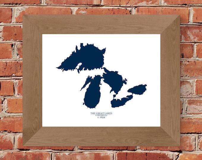 1694 Coronelli Great Lakes - Michigan - Map Fine Art Print (White & Blue) Fine Art Print - Unframed (5x7, 8x10, 11x14, 24x36, and more!)