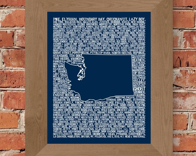 Beers of Washington Word Map Fine Art Print (Dark Blue) - Unframed (11 x 14, 22 x 28)
