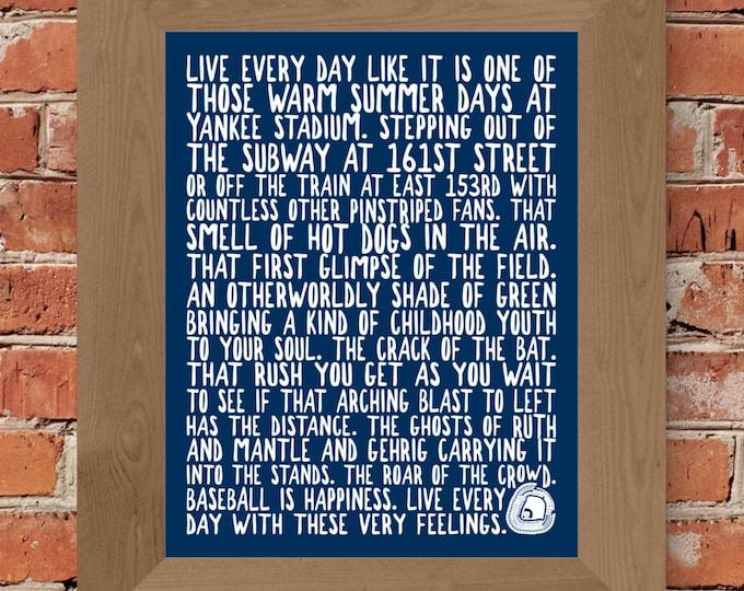 Yankee Stadium Whimsical Fine Art Print (Blue) - Unframed