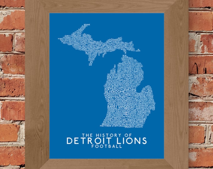 The History of Detroit Lions Football Word Map Fine Art Print (Honolulu Blue) - Unframed