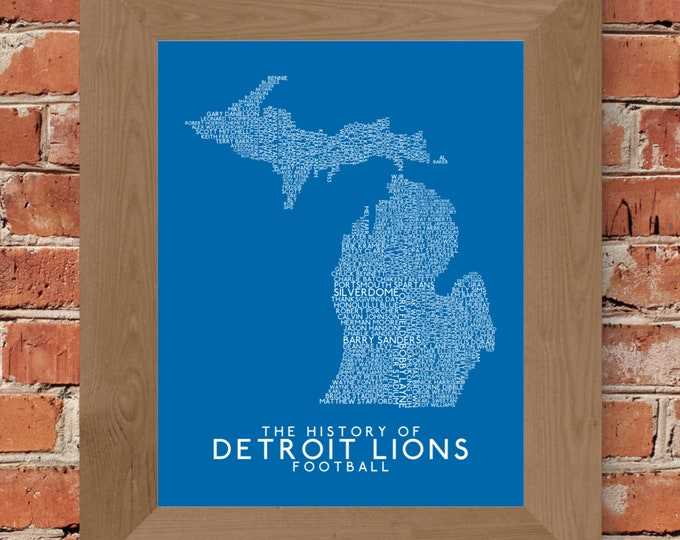 The History of Detroit Lions Football Word Map Fine Art Print (Honolulu Blue) - Unframed (8 x 10, 11 x 14, 16 x 20, 24 x 36, and more!)