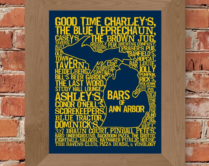 Bars of Ann Arbor - University of Michigan -  Word Map Fine Art Print (Dark Blue) - Unframed