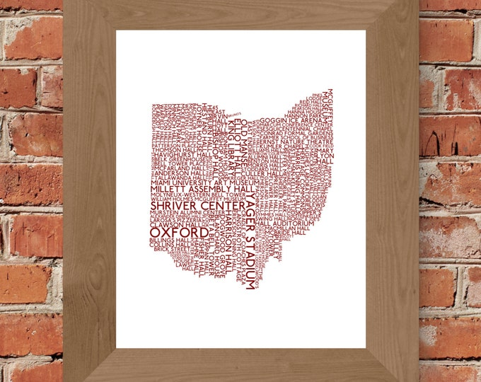 Oxford Ohio College Town - Miami University - Word Map Fine Art Print (White & Red) - Unframed (Multiple Sizes available!)