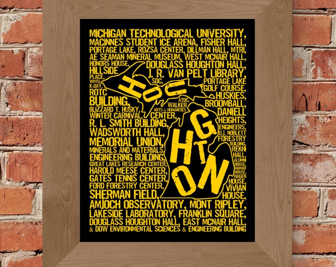 Houghton Michigan - Michigan Tech University - Whimsical College Word Map (Black & Gold) - Unframed