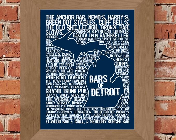 Bars of Detroit Word Map Fine Art Print (Blue) - Unframed (11x14, 22x28)