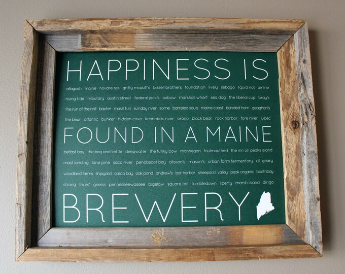 Happiness Is Found In A Maine Brewery Word Art Print (Green) - Unframed