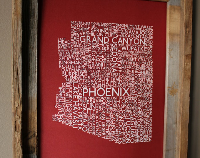 Arizona Word Map Print (Red) - Unframed