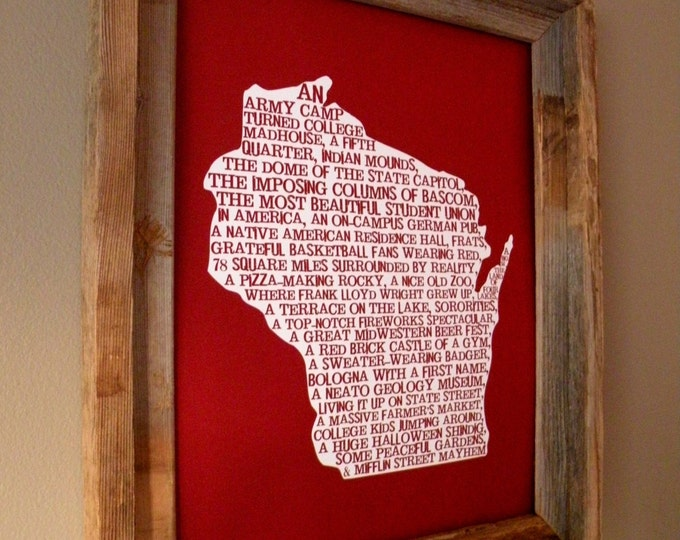 Madison In A Nutshell - University of Wisconsin - Word Art Map Print (Red) - Unframed