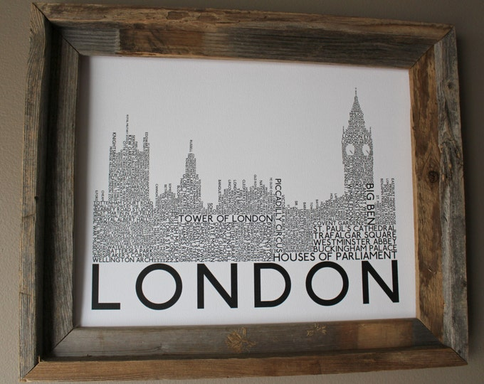 London Big Ben and Houses of Parliament Word Art Print (Black Words) - Unframed