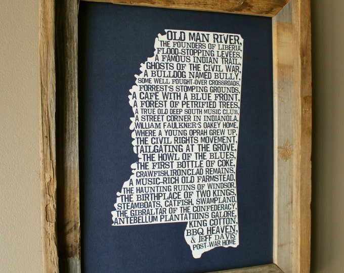Mississippi In A Nutshell Word Art Map Print (Dark Blue) - Unframed