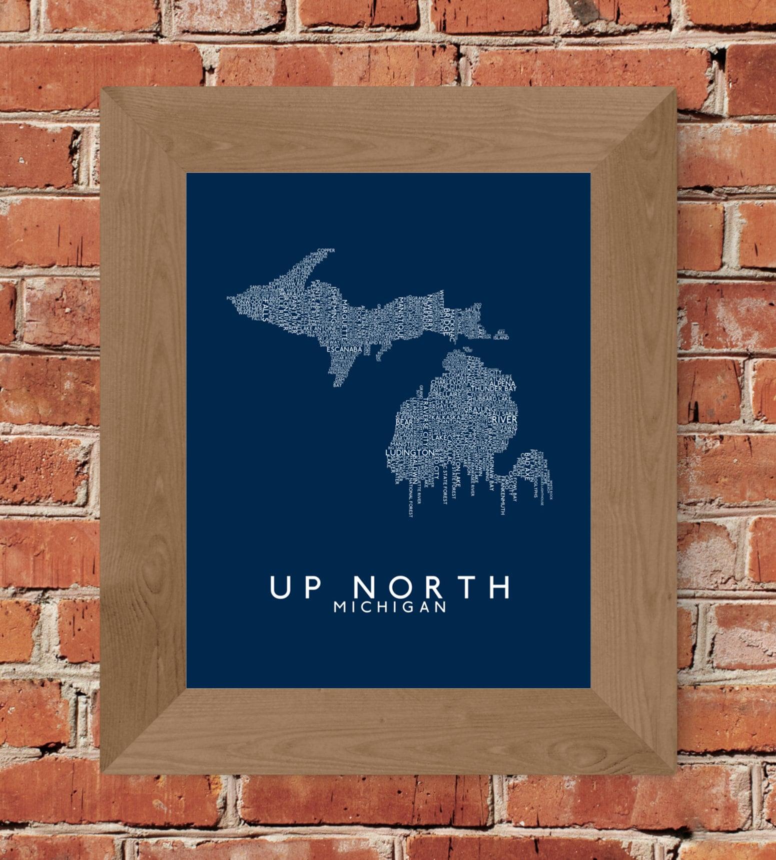 Up North Michigan Word Map Fine Art Print Blue Unframed