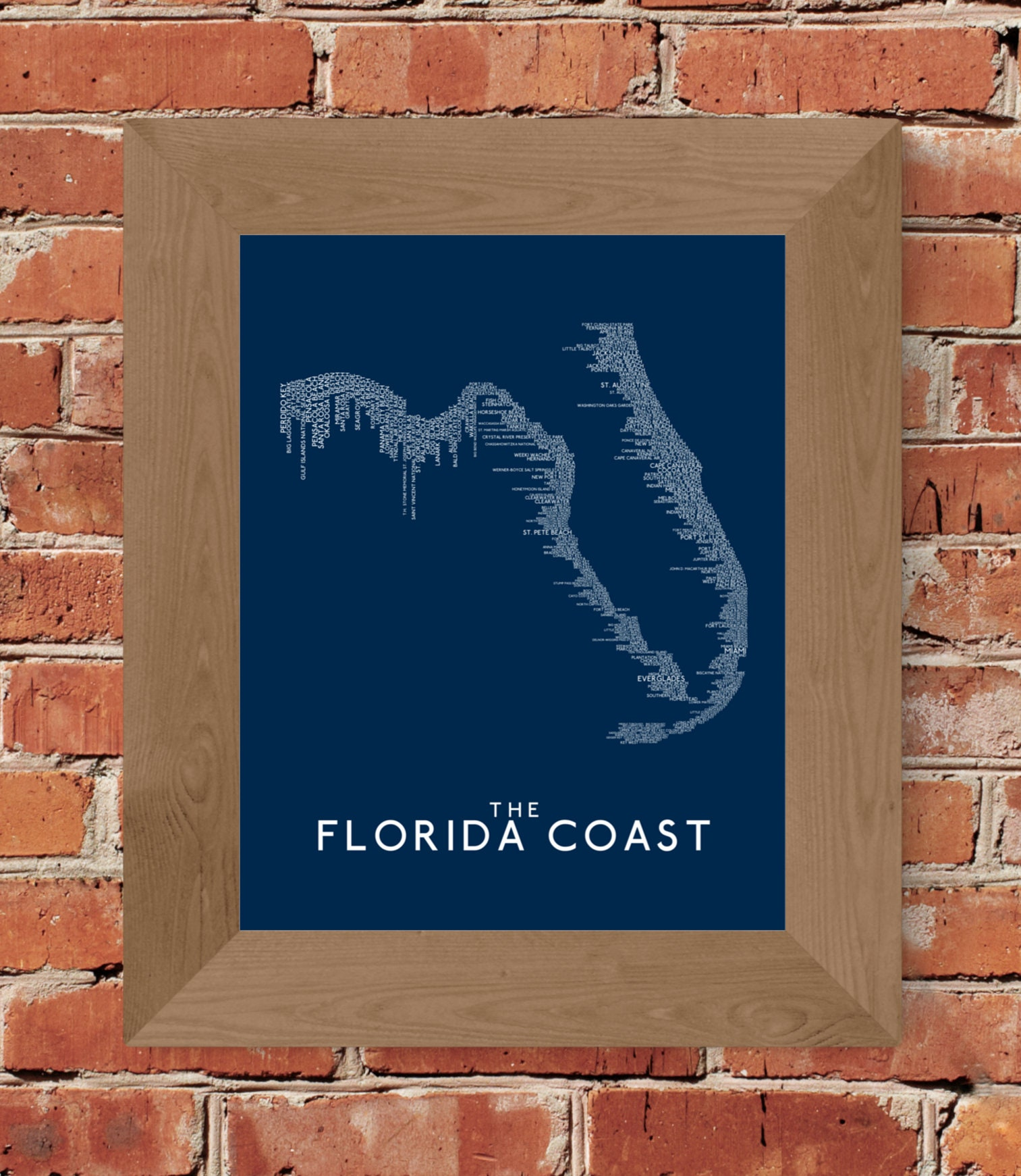 The Florida Coast Word Map (Dark Blue) Fine Art Print ...