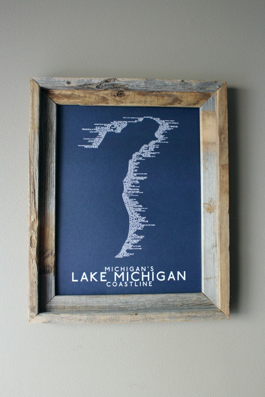 Michigans Lake Michigan Coastline Word Map Dark Blue - Michigan coastline map