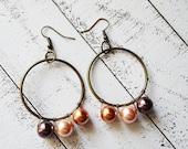 Antique Brass Hoop Pearl Earrings for Women Great Gift Idea