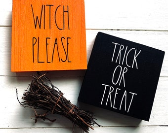 Wooden Sign Farmhouse Halloween Trick Or Treat & Witch Please Decoration Etagere