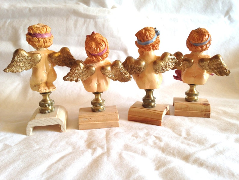 4 Cherub Angel Lamp Finials Toppers Cast Resin Holiday Occasional Figurines on Standard Brass Swivel Bases Lot of