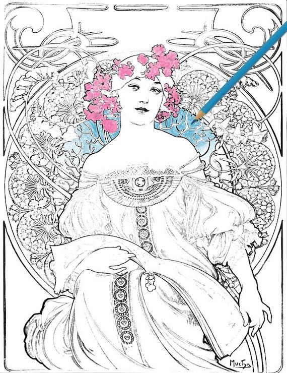 - Alphonse Mucha Art Nouveau Vintage Printable Coloring Pages Etsy